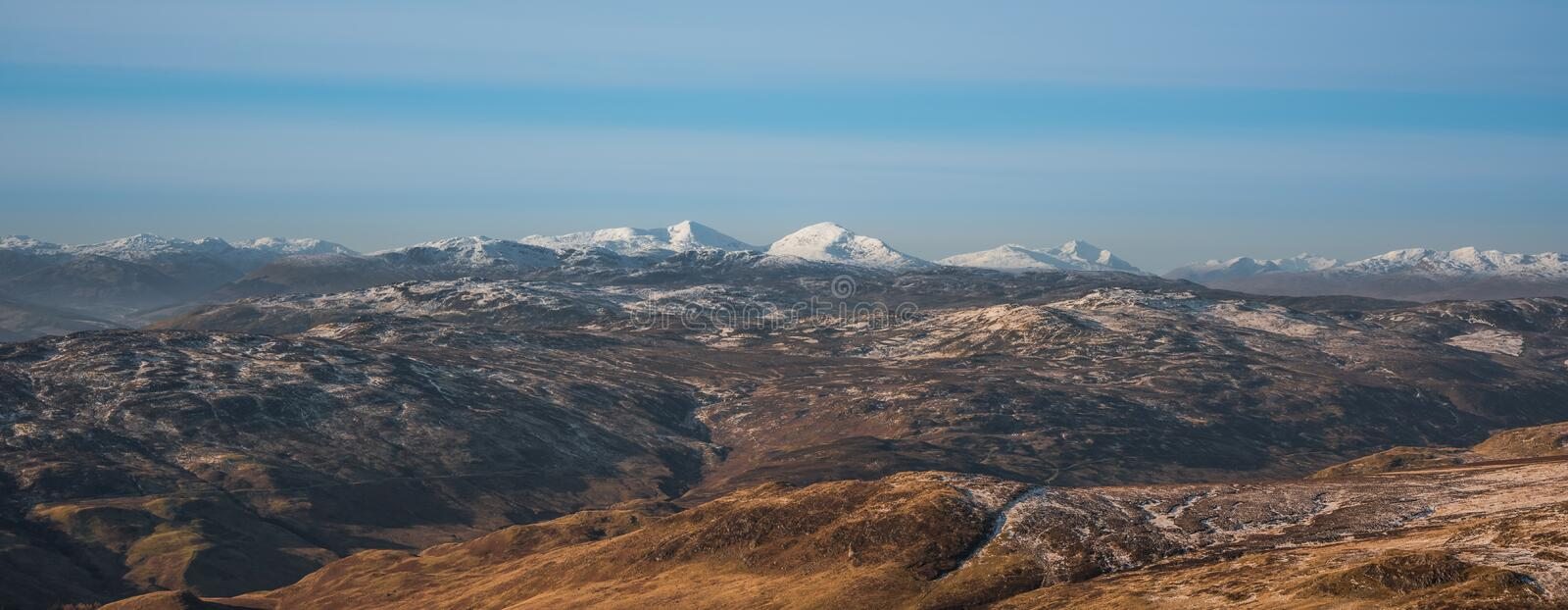 First snow in mountains - Cairngorm National Park in Scotland stock images