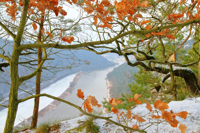 The first snow in the mountains near the river Elbe 1 stock photos