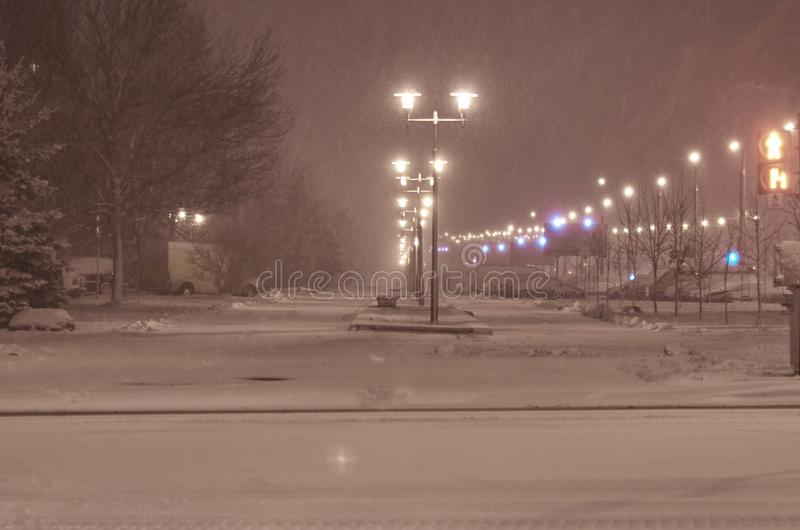 The first snow on the outskirts of the sleeping area of the city stock images