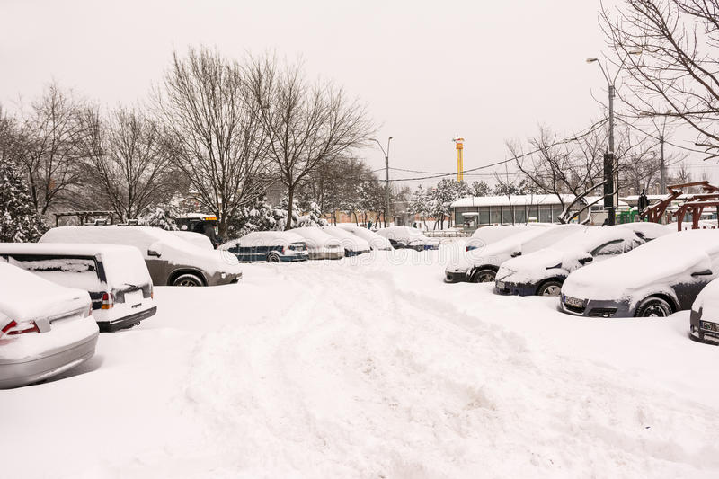 First Snow Over Bucharest Cars stock photo