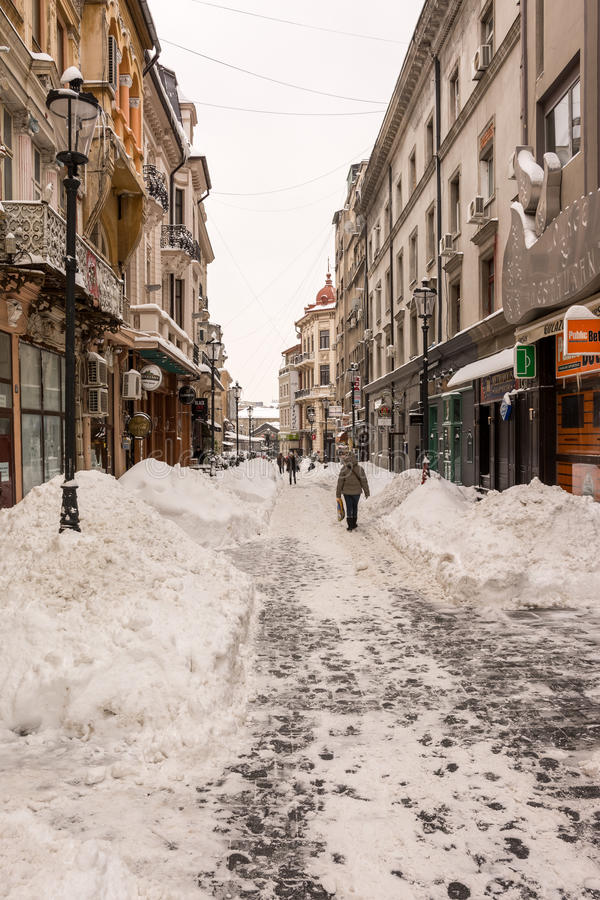 Download First Snow Over Downtown Bucharest Editorial Image - Image: 37143730