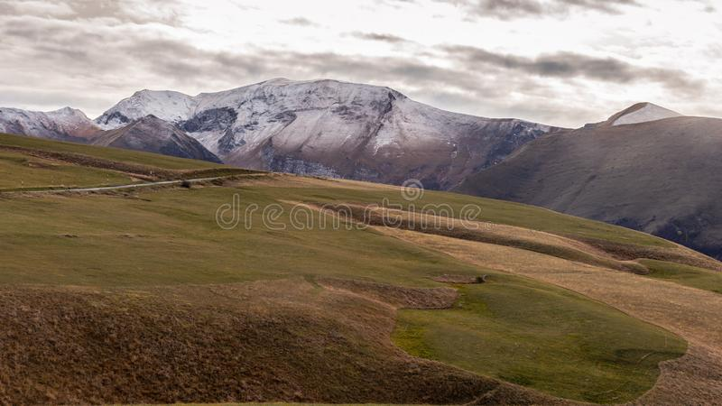 The first snow on Sibillini mountains royalty free stock photos