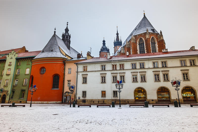 First snow in a small market in Krakow, Poland stock photo