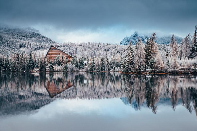 First snow at Strbske pleso, Slovakia. Winter nature, Christmas Scenery.  stock photography