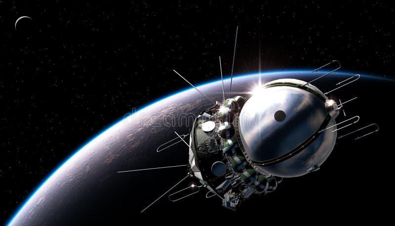 First spaceship on the orbit stock illustration