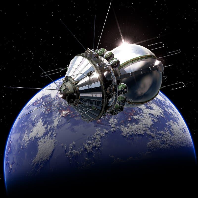 First spaceship on the orbit vector illustration
