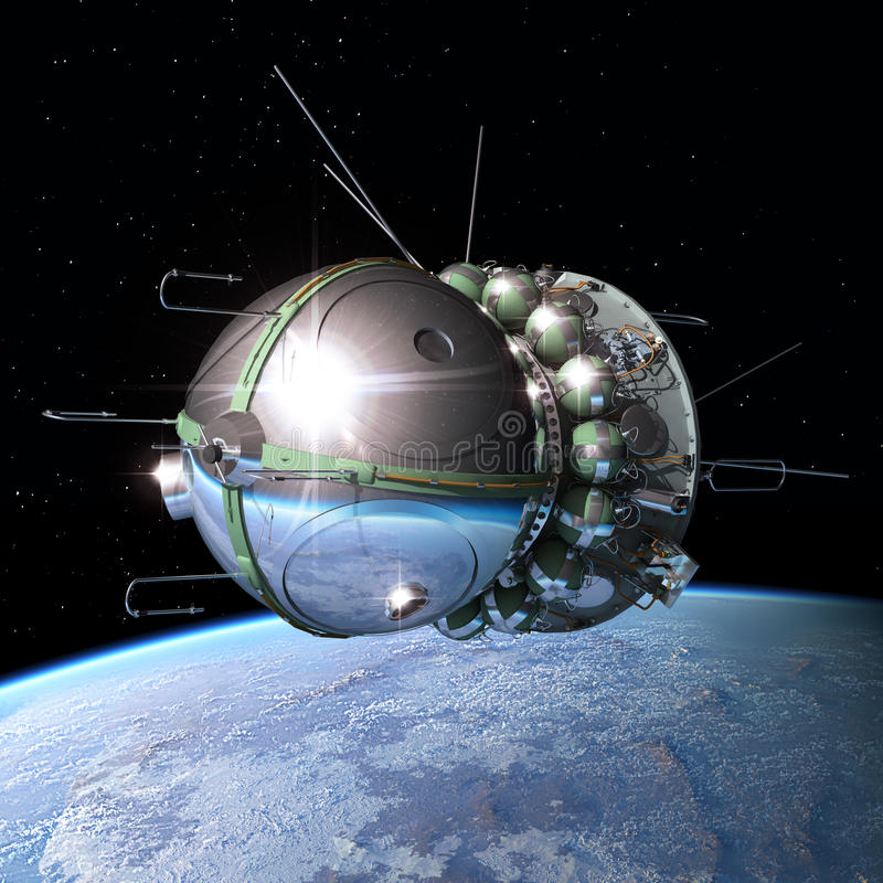 The first spaceship at the orbit stock illustration