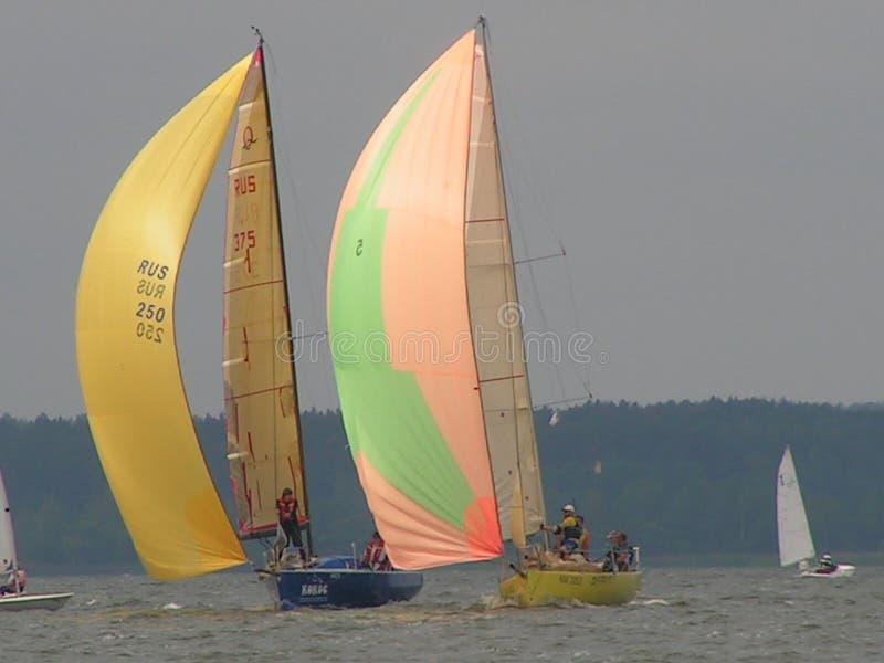 Dangerous convergence of yachts. Photo 2 of 14. The Minsk Sea Zaslavskoe reservoir Republic of Belarus. stock photo