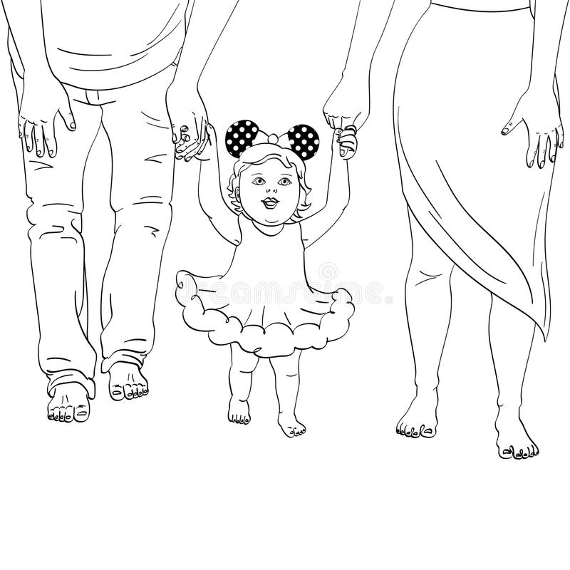 The first steps of the child. Support for parents. Object coloring book vector illustration royalty free illustration