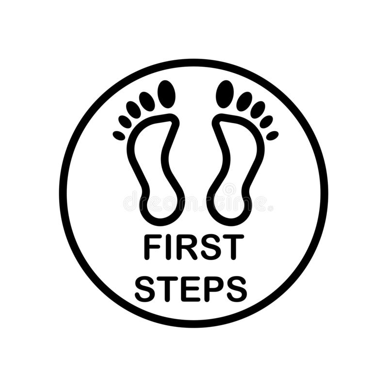 First steps icon isolated on white background. For your web and mobile app design stock illustration