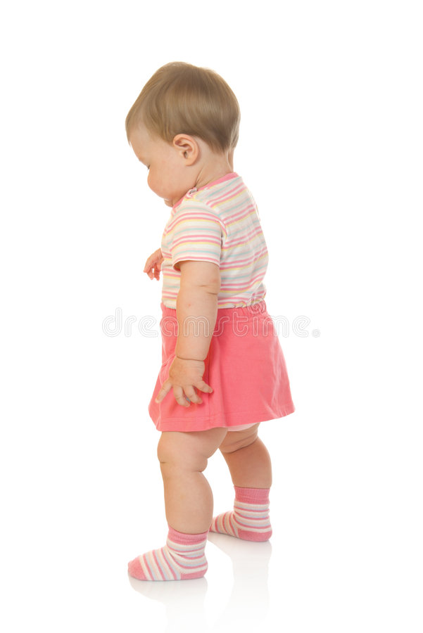 Free First Steps Of Small Baby In Red Dress 2 Royalty Free Stock Photography - 6009457