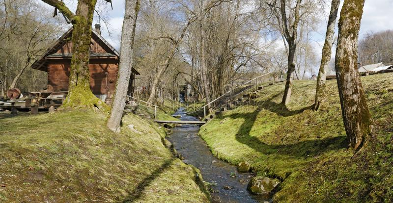 First sunny spring March day in Lithuanian  village panoramic landscape stock photography