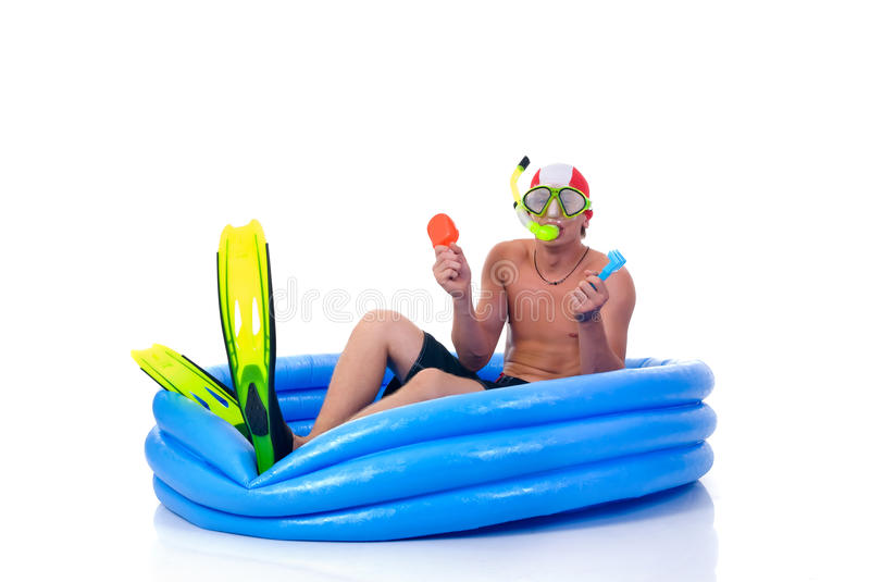 Download First swimming lesson stock photo. Image of humor, first - 12701994