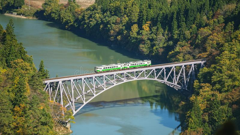 First tadami river bridge in Fukushima, Japan royalty free stock images