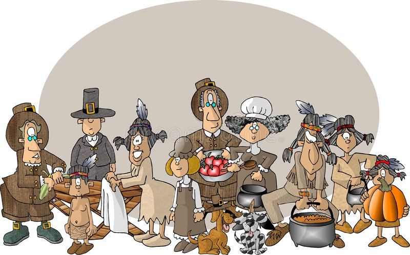 First Thanksgiving. This illustration that I created depicts a comical view of Pilgrims and Indians preparing for the first Thanksgiving feast