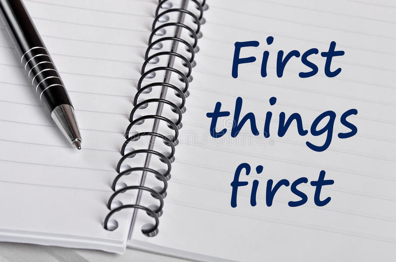 First things first words royalty free stock image
