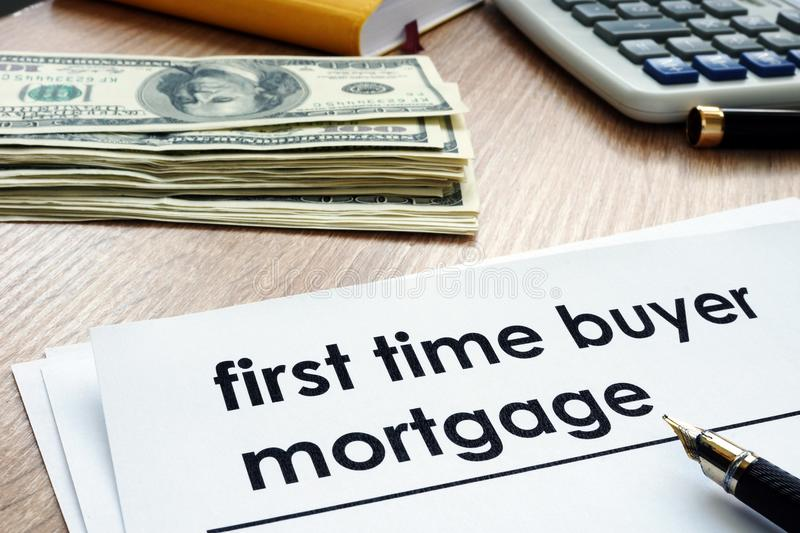 First time buyer mortgage form on the desk. royalty free stock image