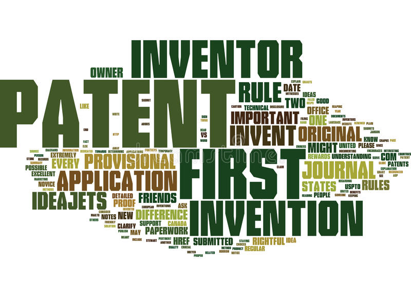 First To Invent Vs First To Patent Word Cloud Concept royalty free illustration