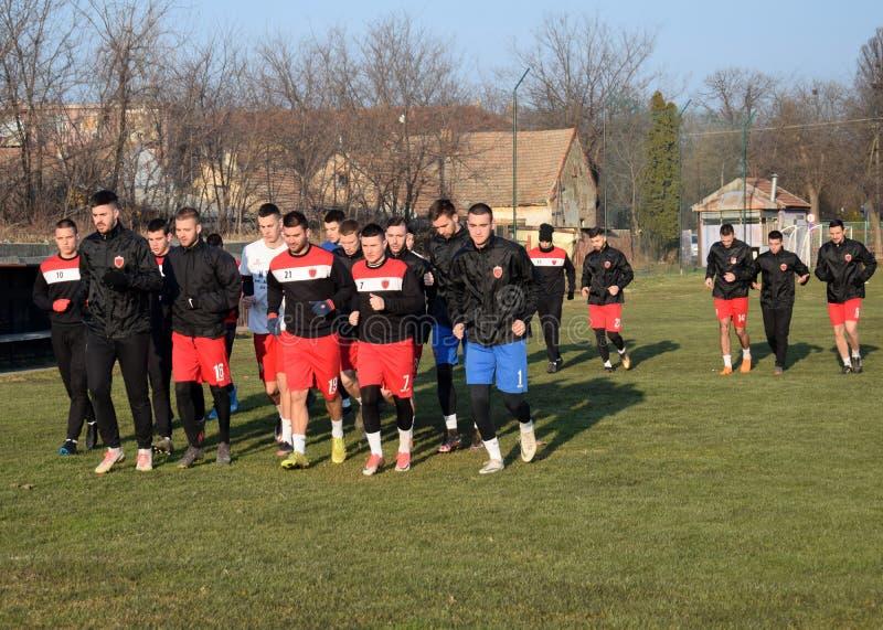 The first Training of Zrenjanin Radnicki football player stock image