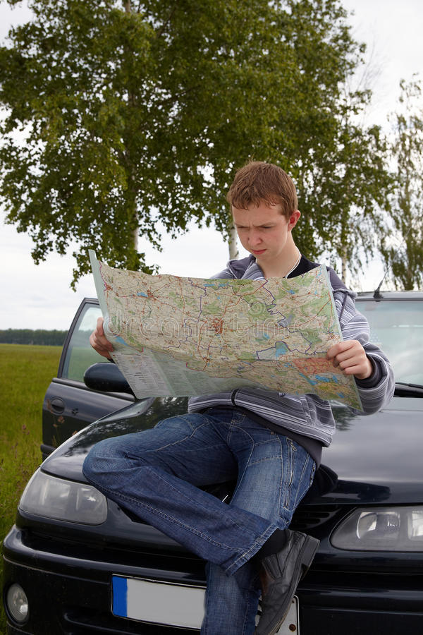 First travel with car stock image
