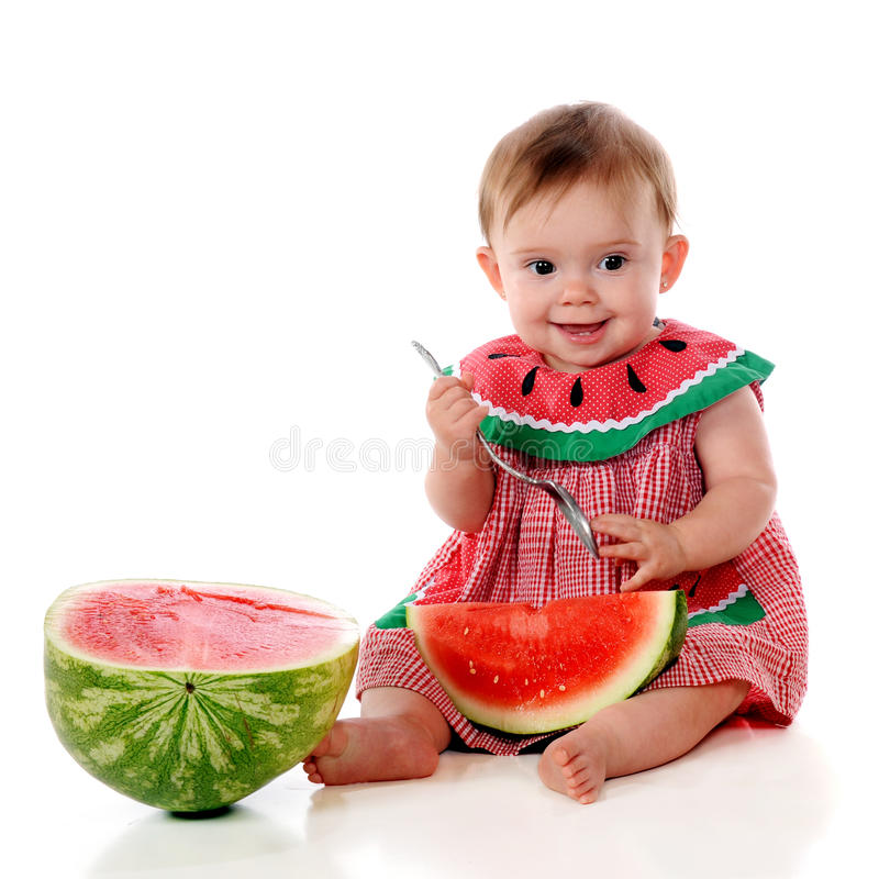 Download First Watermelon stock image. Image of girl, food, smile - 24905779