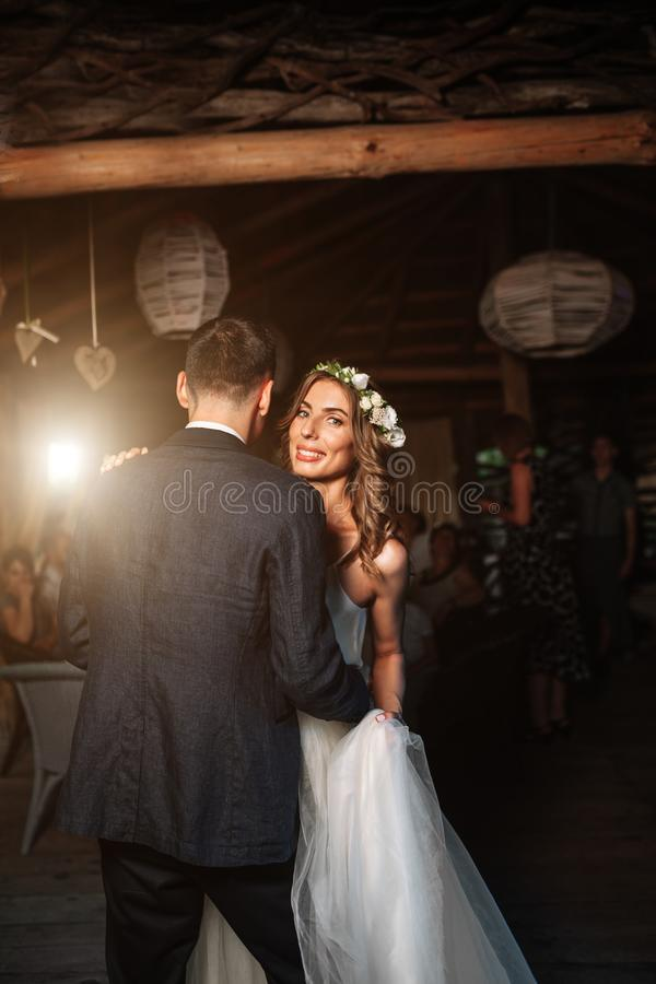 The first wedding dance of the newlyweds royalty free stock images