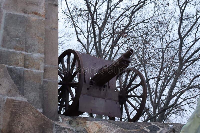 First world war cannon. First world war artillery howitzer cannon stock photo