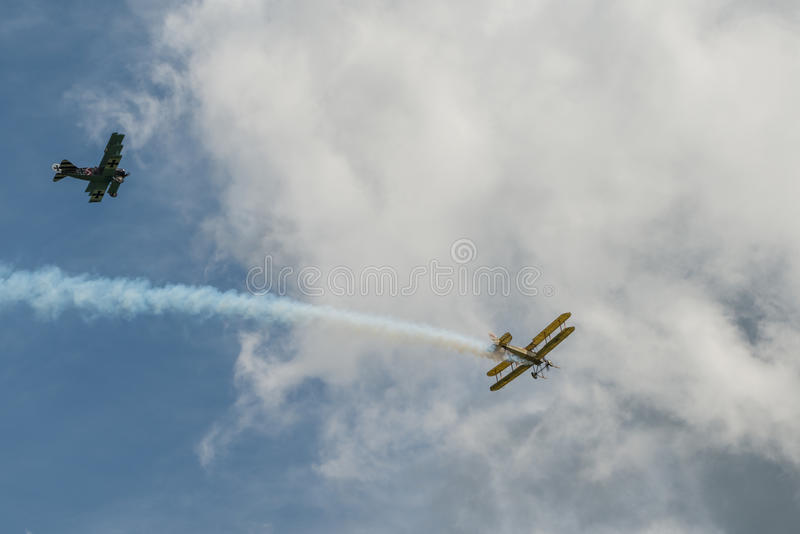 First World War dogfight. Cosford, UK - 08 June 2014: World War 1 vintage dogfighting aircraft seen at RAF Cosford Airshow royalty free stock photography