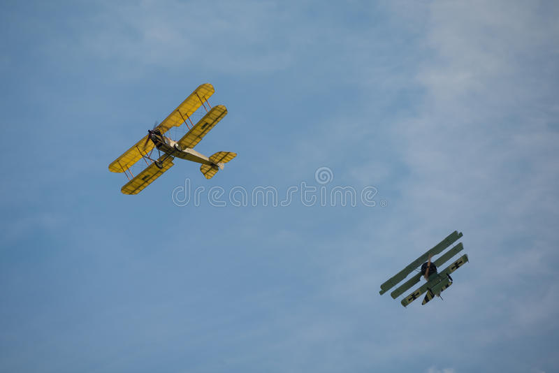 First World War dogfight. Cosford, UK - 08 June 2014: World War 1 vintage dogfighting aircraft seen at RAF Cosford Airshow stock images