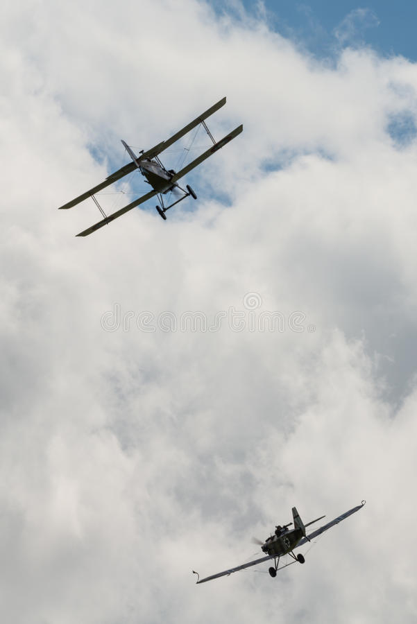 First World War dogfight. Cosford, UK - 08 June 2014: World War 1 vintage dogfighting aircraft seen at RAF Cosford Airshow stock photography