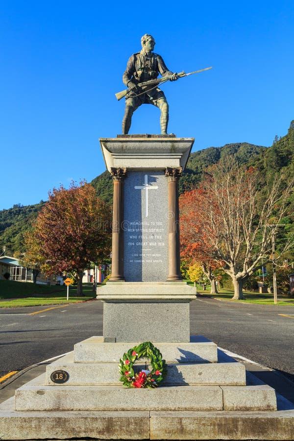 First World War memorial statue in Te Aroha, New Zealand stock photography