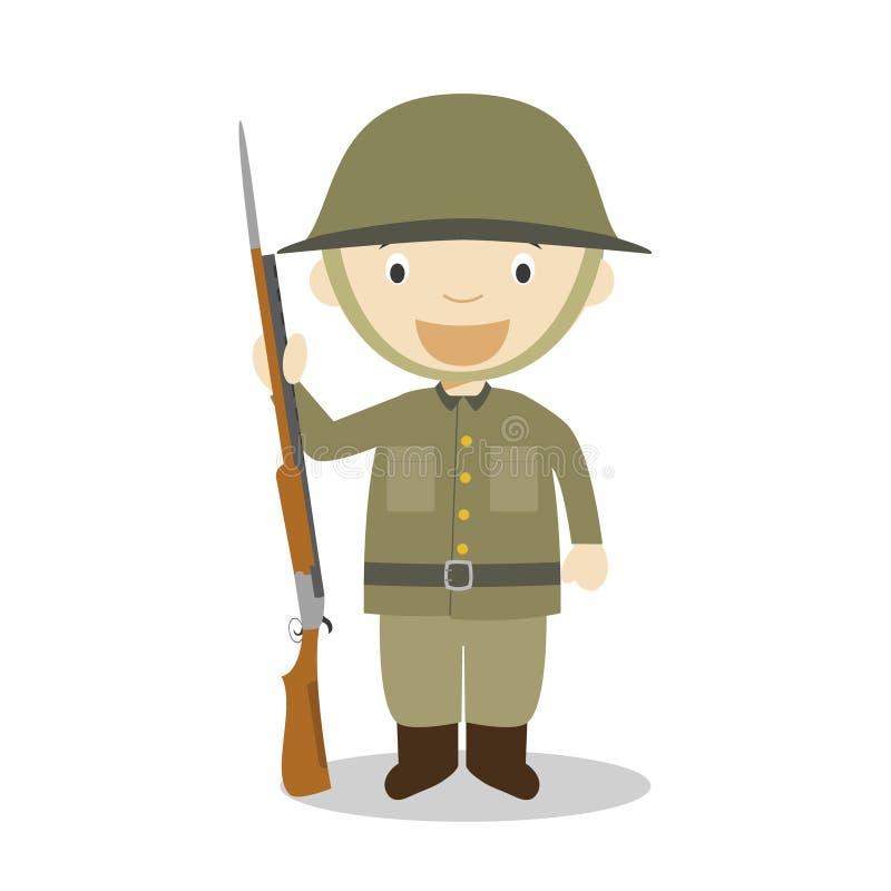 First World War soldier cartoon character. Vector Illustration. stock illustration