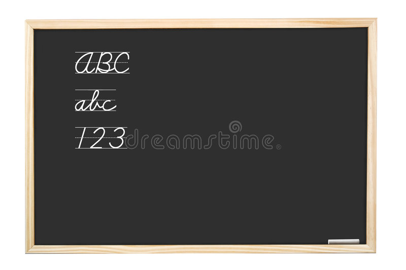 First writing lesson. School blackboard with handwritten abc letters and 123 digits - isolated on white royalty free stock photography