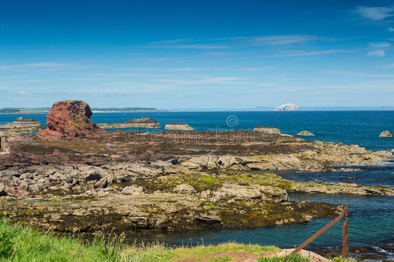 The Firth of Forth and Bass Rock from Dunbar Harbour and stock images