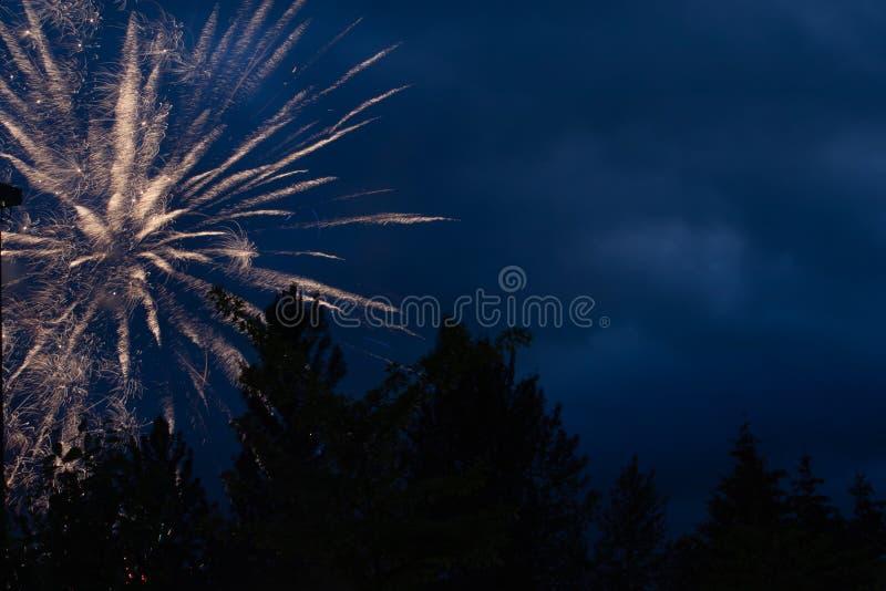 firworks i en mörk himmel som firar arkivbilder