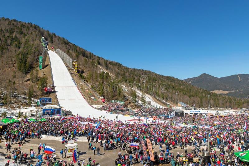 FIS跳台滑雪的世界杯队竞争2019年在Planica,斯洛文尼亚 库存图片
