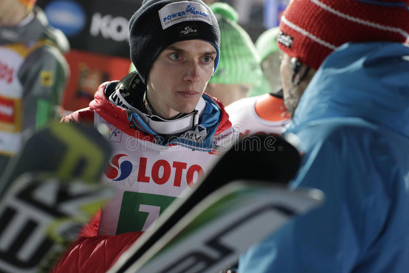 FIS Ski jumping World Cup in Zakopane 2016. ZAKOPANE, POLAND - JANUARY 23, 2016: FIS Ski Jumping World Cup in Zakopane o/p Manuel Poppinger AUT royalty free stock images
