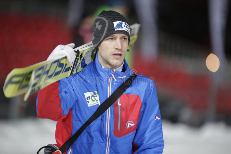 FIS Ski jumping World Cup in Zakopane 2016. ZAKOPANE, POLAND - JANUARY 22, 2016: FIS Ski Jumping World Cup in Zakopane o/p Roman Koudelka CZE royalty free stock photo
