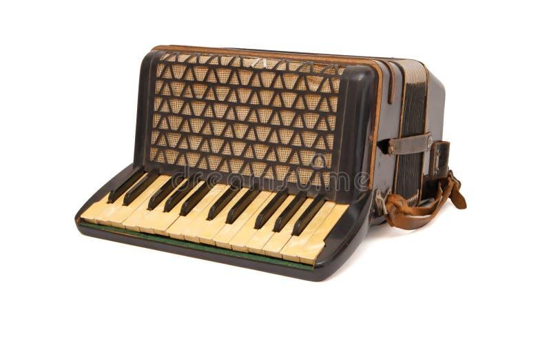 Fisarmonica marrone degli anni 30 dell'annata isolata immagini stock libere da diritti