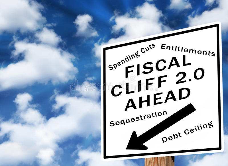 Fiscal cliff 2.0. Fiscal cliff warning sign for debt ceiling in March of 2013 stock image