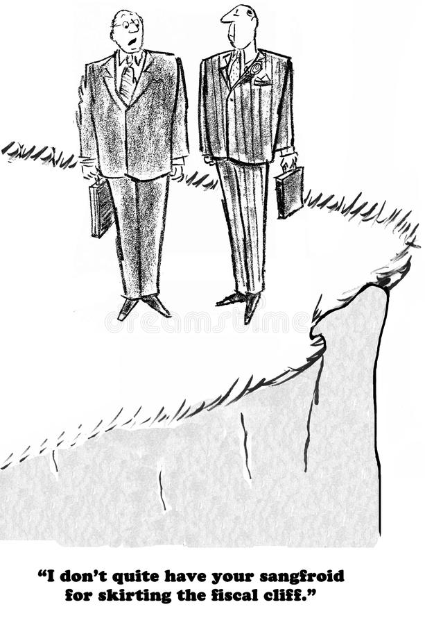 Fiscal Cliff. Political cartoon of a citizen who has a sangfroid for skirting the fiscal cliff stock illustration