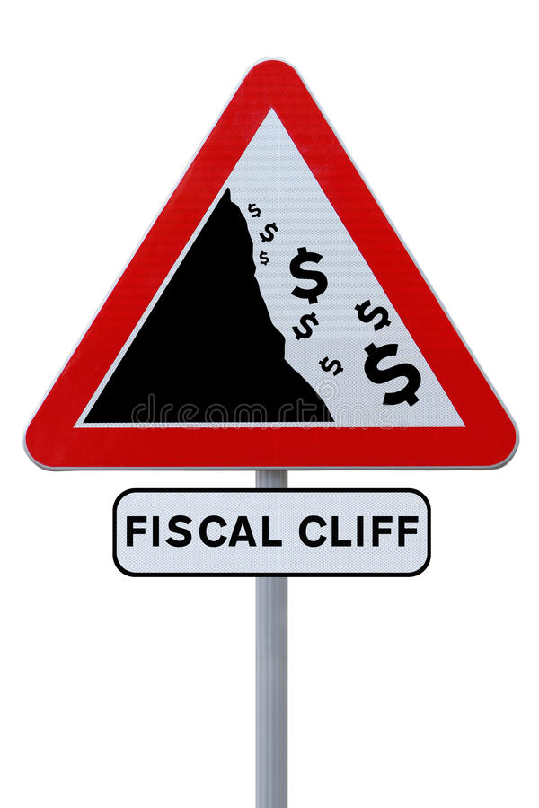 Fiscal Cliff Road Sign. A conceptual road sign on the US fiscal cliff (on white royalty free stock images