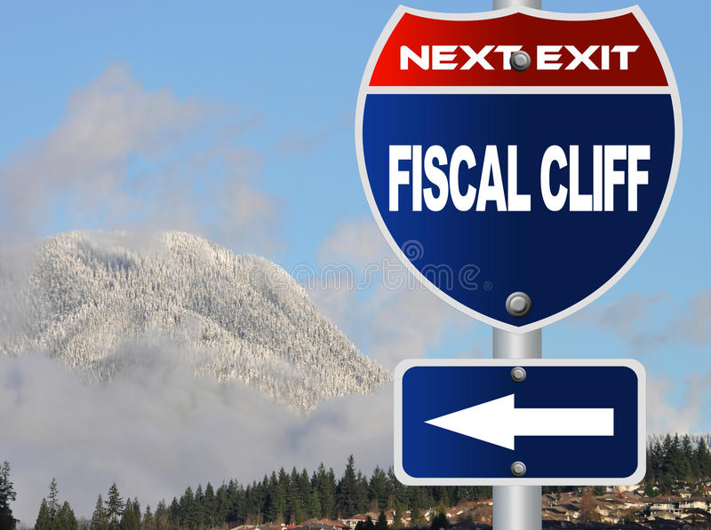 Fiscal cliff road sign. With nature background stock illustration