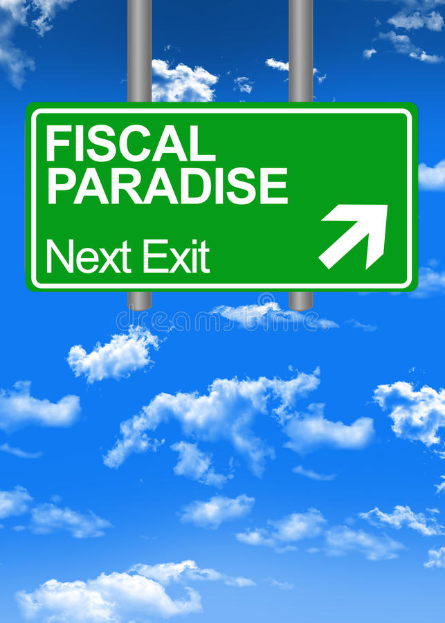 Fiscal paradise road sign. Or tax free concept stock illustration