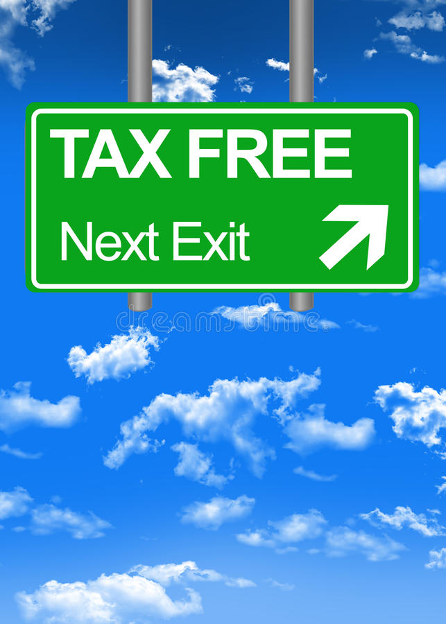 Fiscal paradise road sign or tax free concept. Fiscal paradise green road sign or tax free concept royalty free illustration