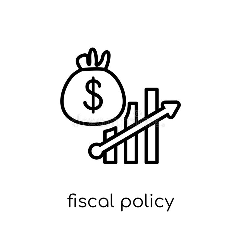 Fiscal policy icon. Trendy modern flat linear vector fiscal policy icon on white background from thin line Fiscal policy. Collection, outline vector stock illustration