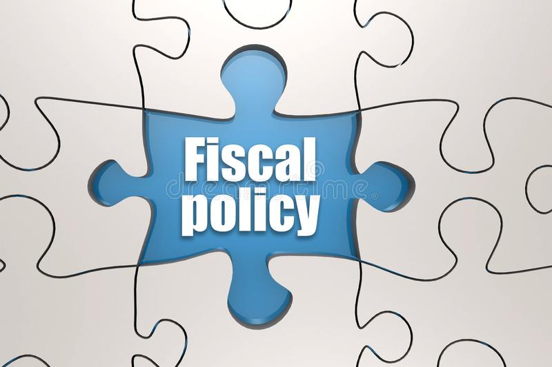 Fiscal policy word on jigsaw puzzle. 3D rendering stock illustration