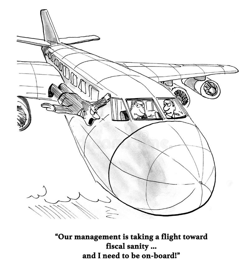 Fiscal Sanity. Business cartoon showing a flying man wanting on the plane for fiscal sanity royalty free illustration