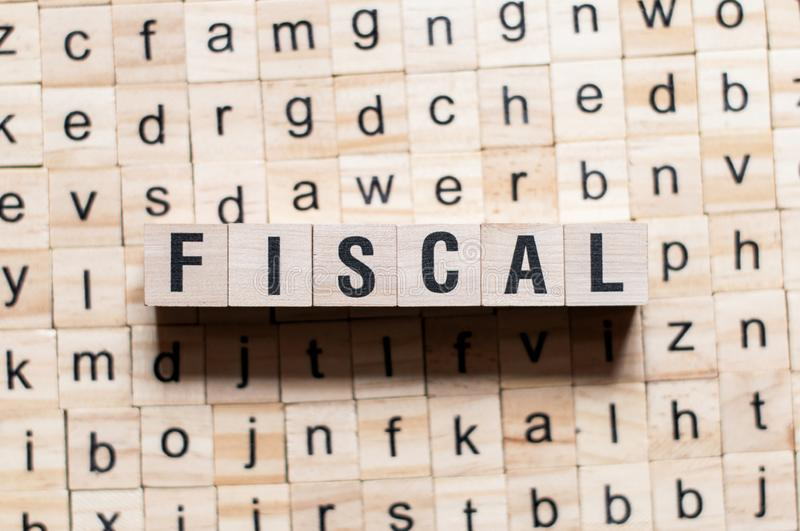 Fiscal word concept. On cubes royalty free stock photo