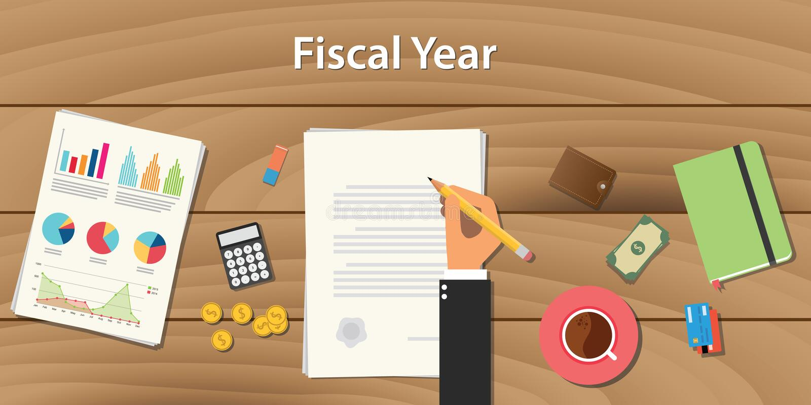 Fiscal year concept illustration with business man working on some paper document graph chart money wooden table. Fiscal year concept illustration with business vector illustration